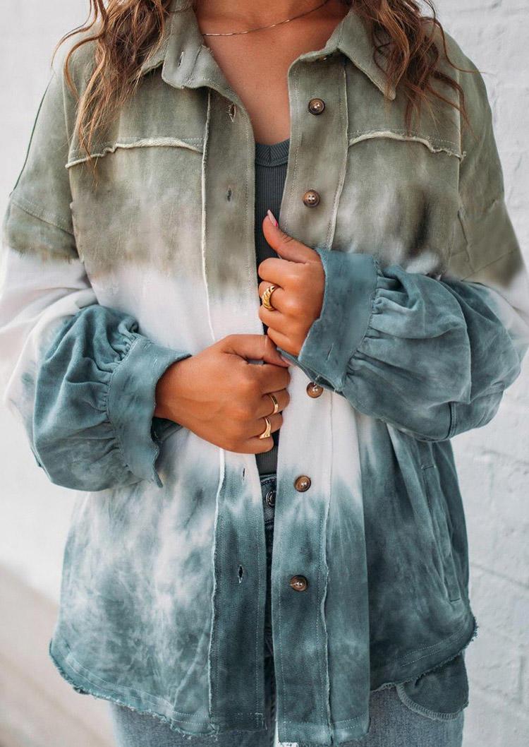 Color Block Tie Dye Gradient Button Coat