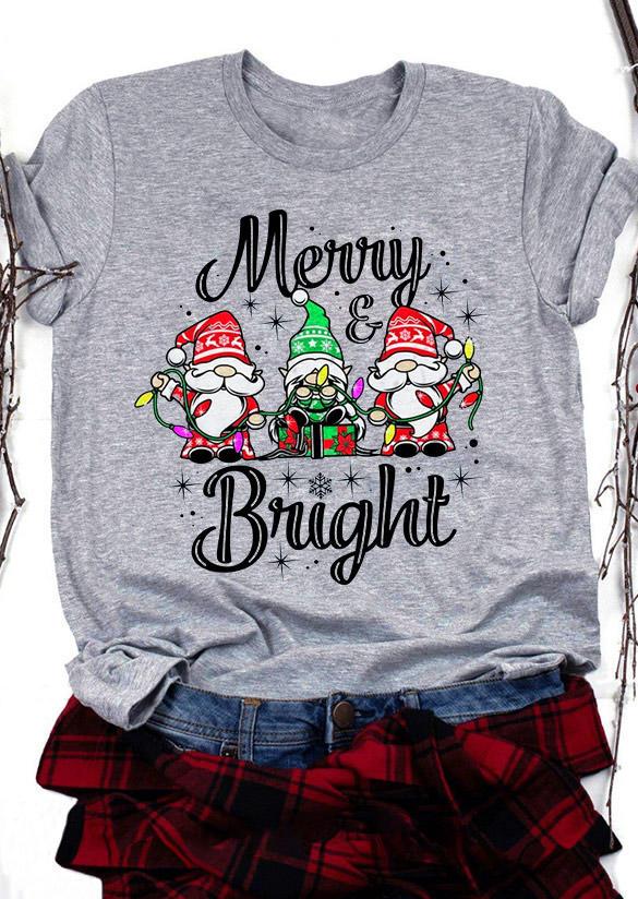 Merry Bright Gnomies T-Shirt Tee - Gray