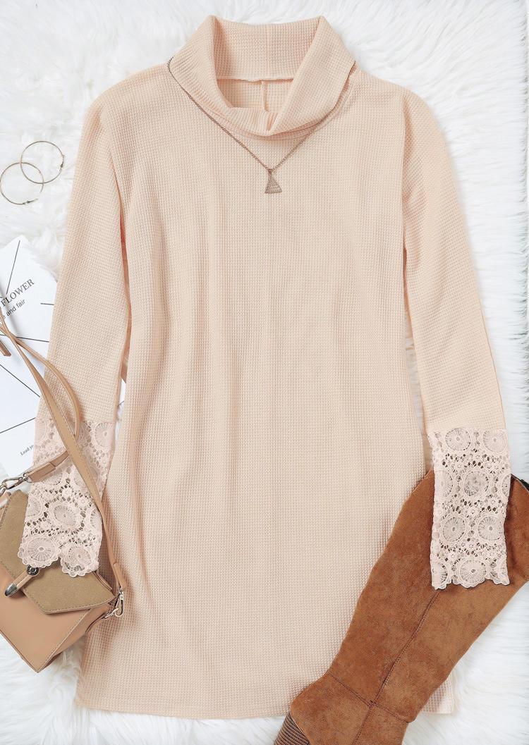 Lace Splicing Cowl Neck Mini Dress - Apricot