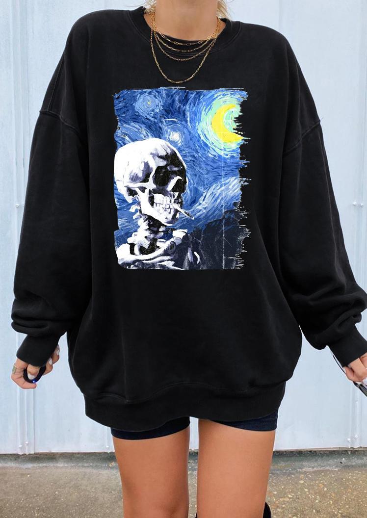 Van Gogh Cigarette Skeleton Sweatshirt - Black