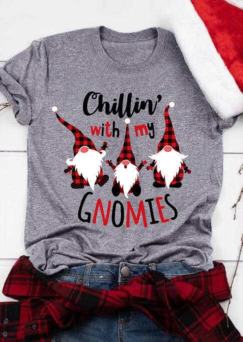 Christmas Chillin' With My Gnomies Plaid T-Shirt Tee - Dark Grey