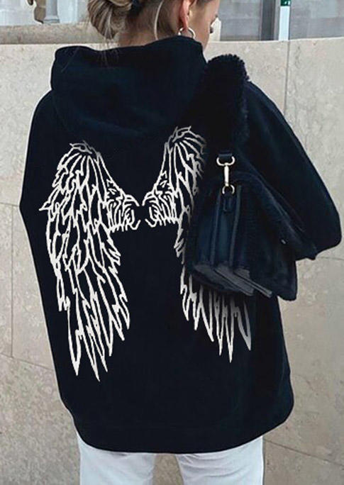 Angel Wing Long Sleeve Hoodie - Black