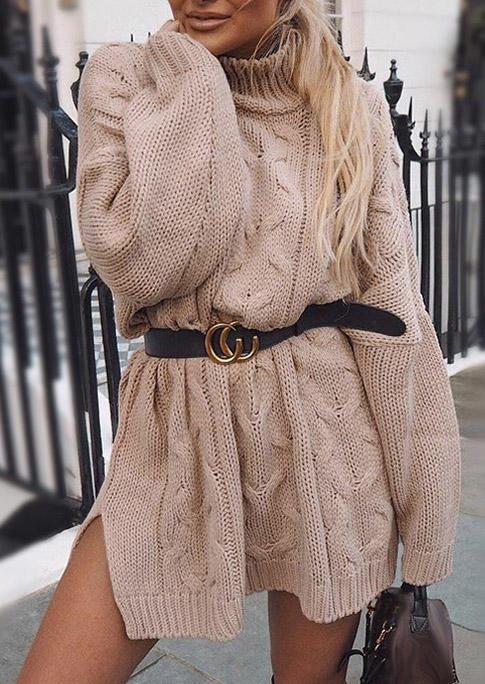 Crochet Turtleneck Sweater Mini Dress - Khaki