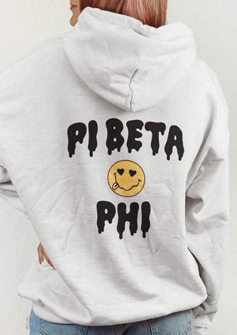 Pibeta Phi Smiley Kangaroo Pocket Hoodie - White