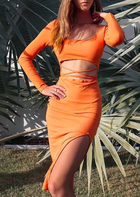 Hollow Out Criss-Cross Irregular LongSleeve Mini Dress - Orange