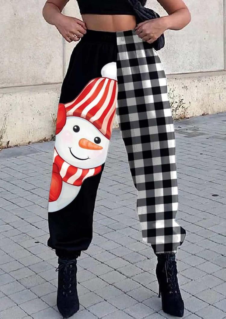 Christmas Snowman Plaid Elastic Waist Sweatpants - Black