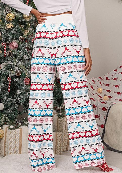 Christmas Reindeer Heart Drawstring Wide Leg Pants