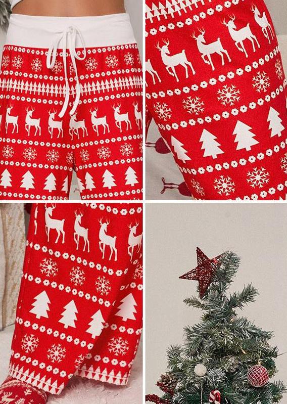 Christmas Snowflake Reindeer Drawstring Wide Leg Pants