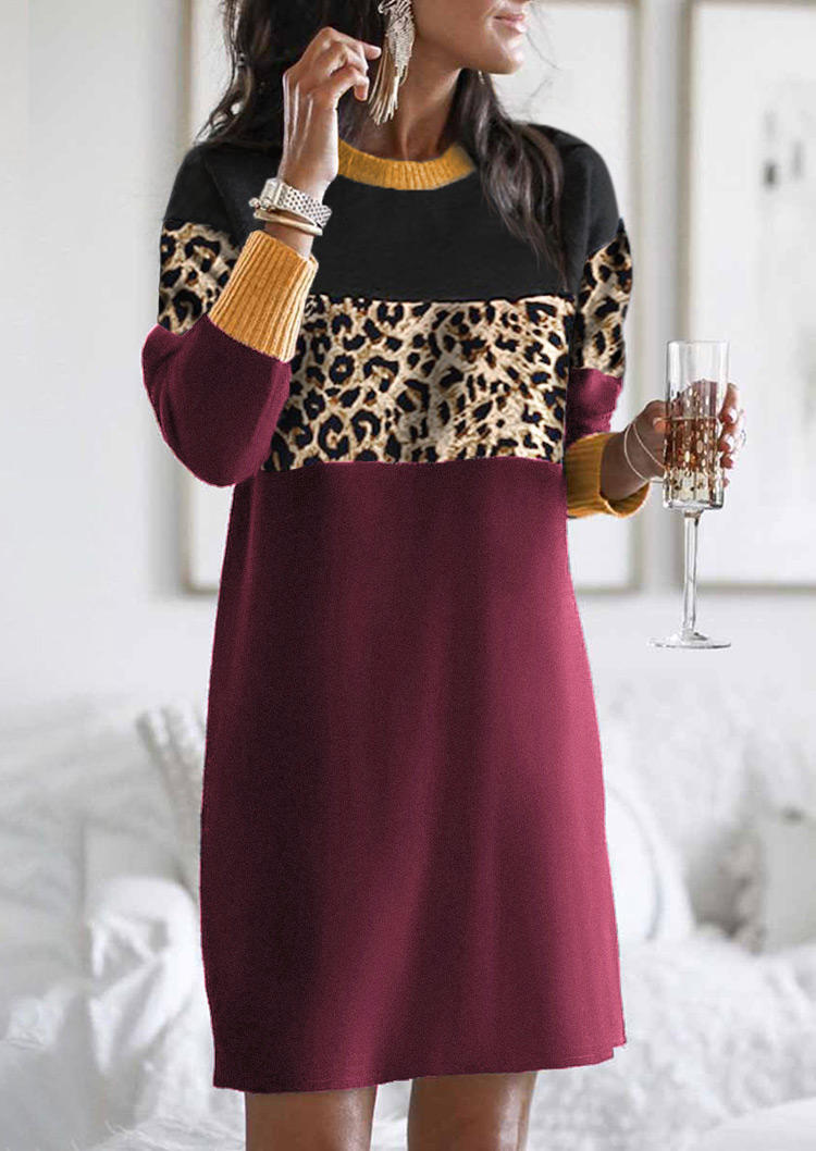 Leopard Color Block Long Sleeve Mini Dress - Burgundy