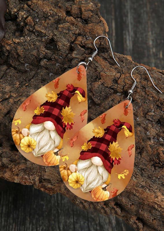 Thanksgiving Plaid Gnomies Maple Leaves Earrings
