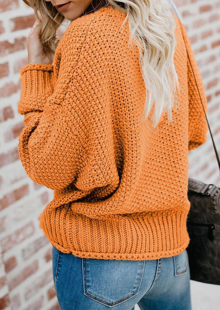 Knitted V-Neck Drop Shoulder Sweater - Orange