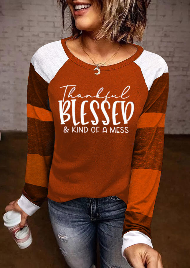 Thankful Blessed Color Block Blouse - Red