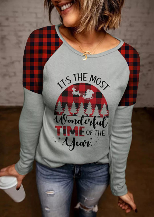 Christmas It's The Most Wonderful Time Of The Year Blouse - Gray