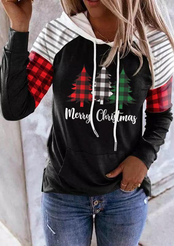 Merry Christmas Buffalo Plaid Tree Striped Hoodie - Black