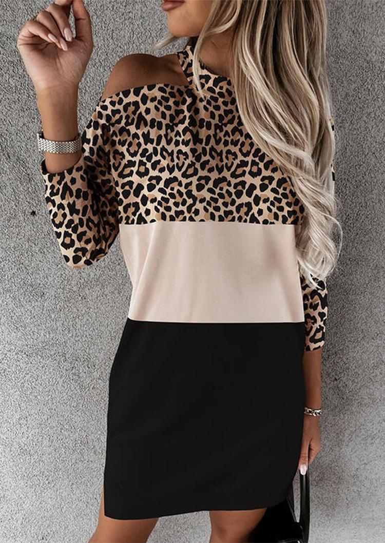 Leopard Color Block One Sided Cold Shoulder Mini Dress
