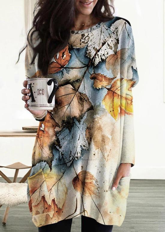 Maple Leaf LongSleeve O-Neck Mini Dress
