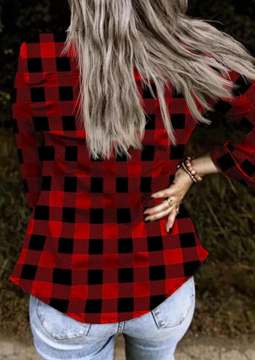 Plaid Button Long Sleeve Coat