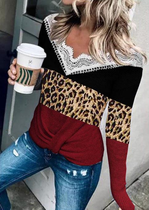Lace Leopard Color Block Twist Casual Blouse