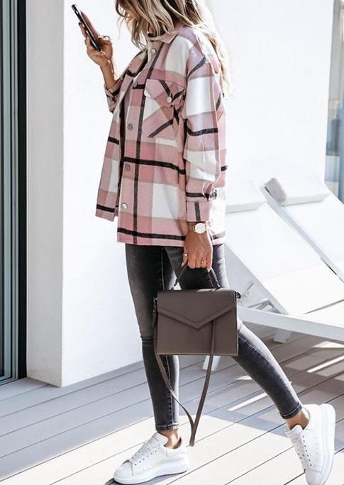 Plaid Pocket Button LongSleeve Coat - Pink
