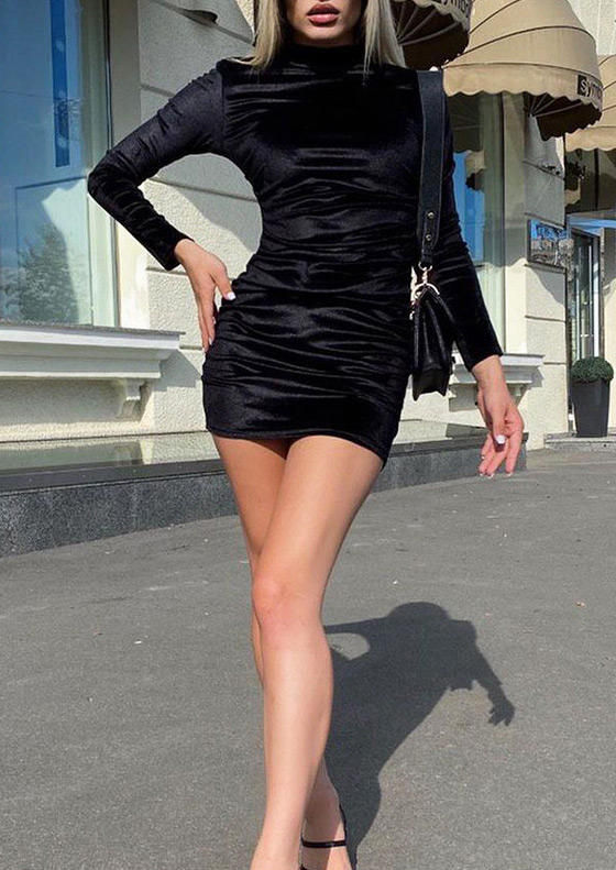 Ruched Turtleneck LongSleeve Bodycon Dress - Black