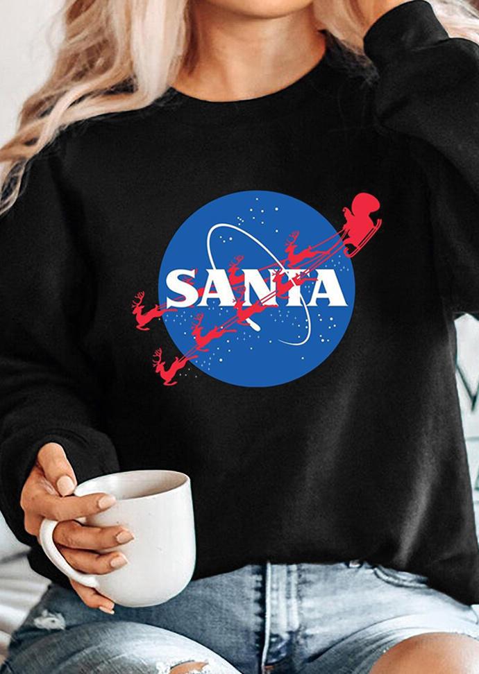 Christmas Santa Reindeer LongSleeve Sweatshirt - Black