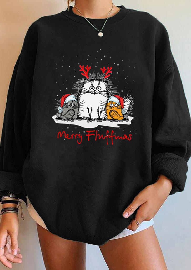 Merry Fluffmas Christmas Cat Sweatshirt - Black