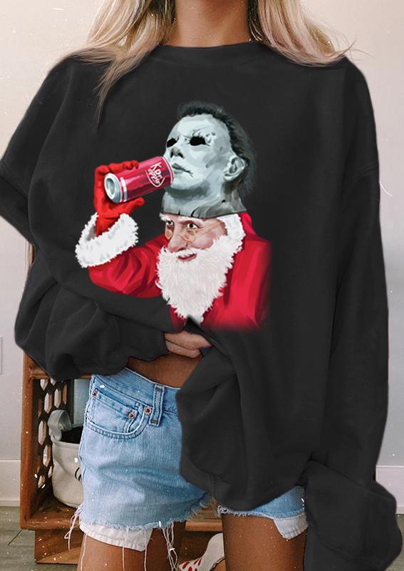 Christmas Santa Claus Horror Movie Character Sweatshirt - Black
