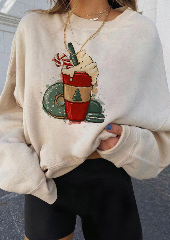 Christmas Coffee Donut Long Sleeve Sweatshirt - Apricot