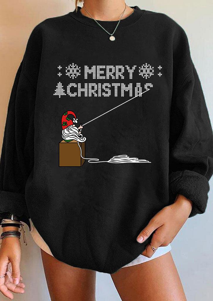 Merry Christmas Santa Claus Sweatshirt - Black
