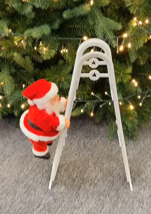 Santa Climbing Ladder Christmas Decoration Ornament without Battery