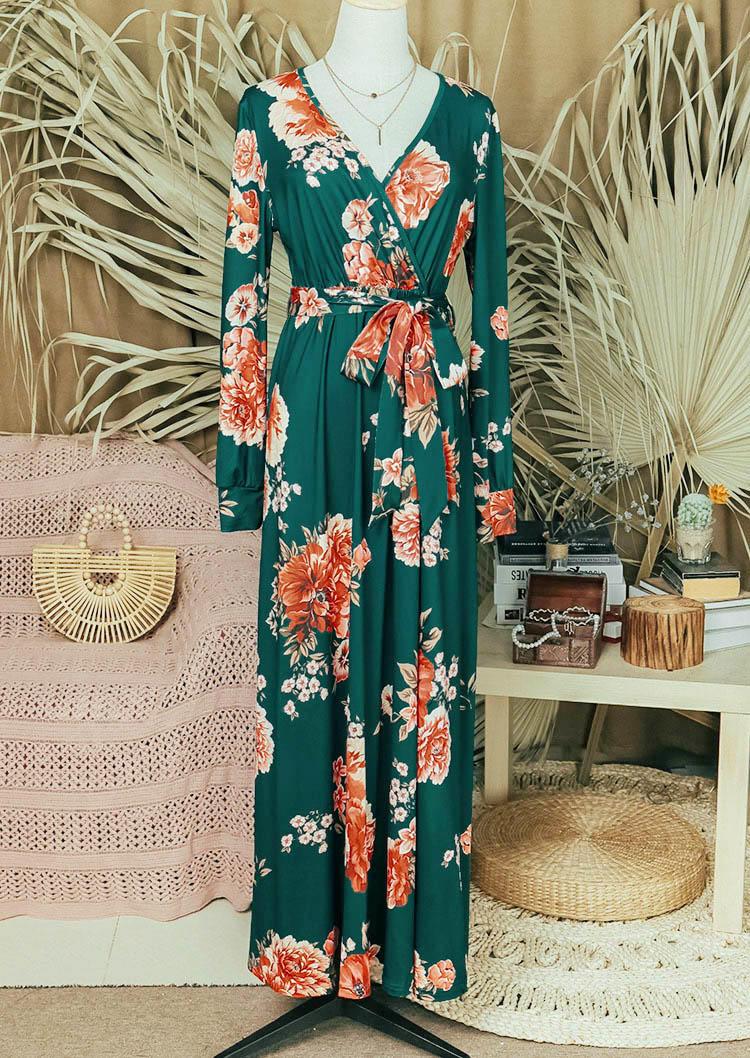 Floral Wrap LongSleeve V-Neck Maxi Dress - Green