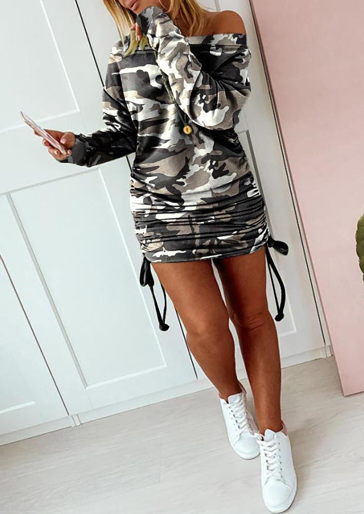 Camouflage Ruched Drawstring LongSleeve Mini Dress
