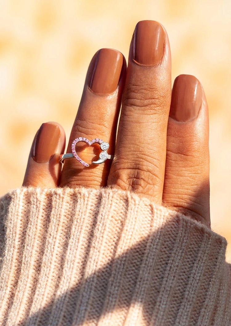 Rhinestone Love Heart Alloy Ring