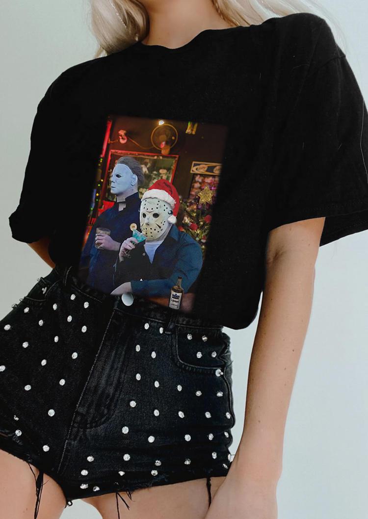 Christmas Horror Movie O-Neck T-Shirt Tee - Black