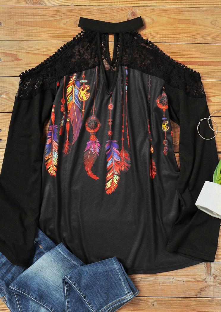 Lace Feather Keyhole Neck ColdShoulder Blouse - Black