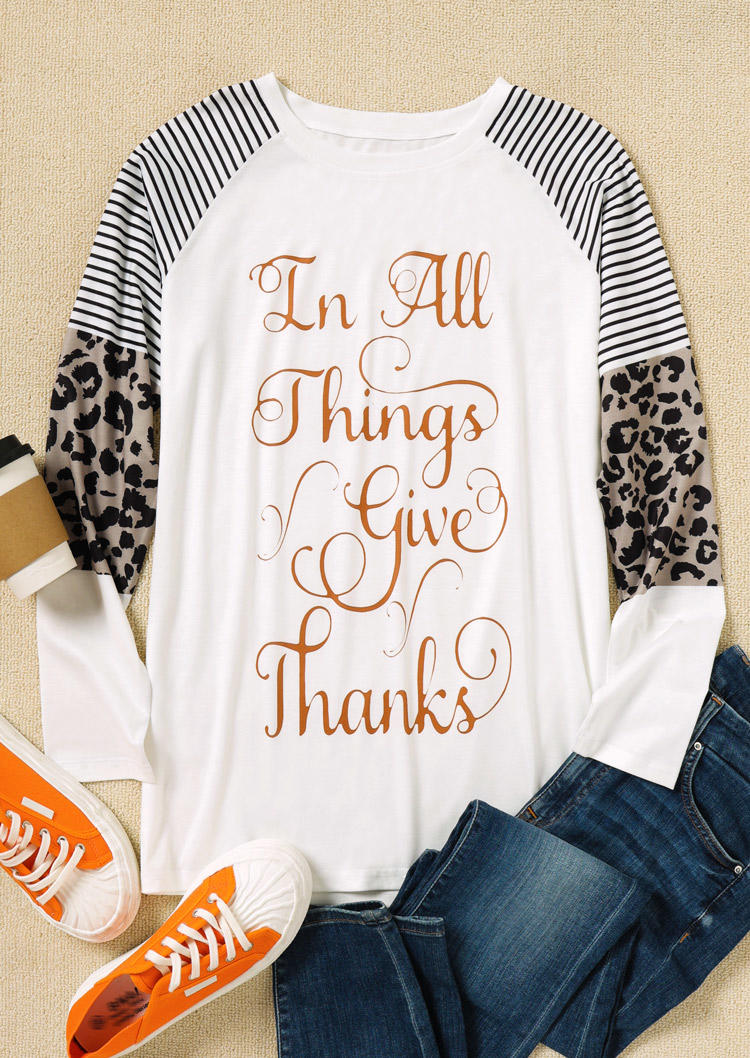 In All Things Give Thanks Leopard Striped Blouse - White