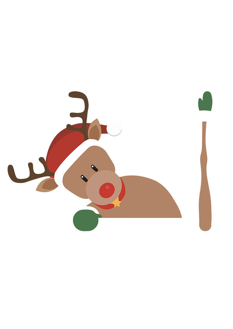 Christmas Elk Santa Claus Waving Wiper Decal Car Sticker