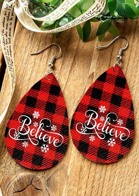 Double-Sided Buffalo Plaid Snowflake Believe Water Drop Earrings - Red