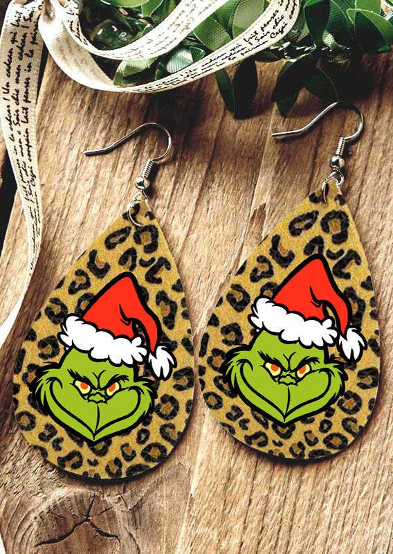 Christmas Double-Sided Leopard Water Drop Earrings
