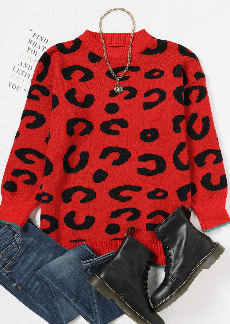 Leopard O-Neck Long Sleeve Sweater - Red