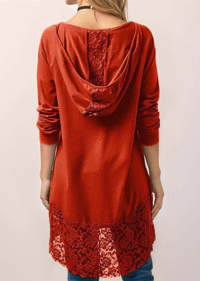 Lace Splicing Hooded Casual Blouse - Orange