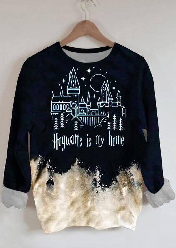 Hogwarts Is My Home Bleached Sweatshirt - Navy Blue
