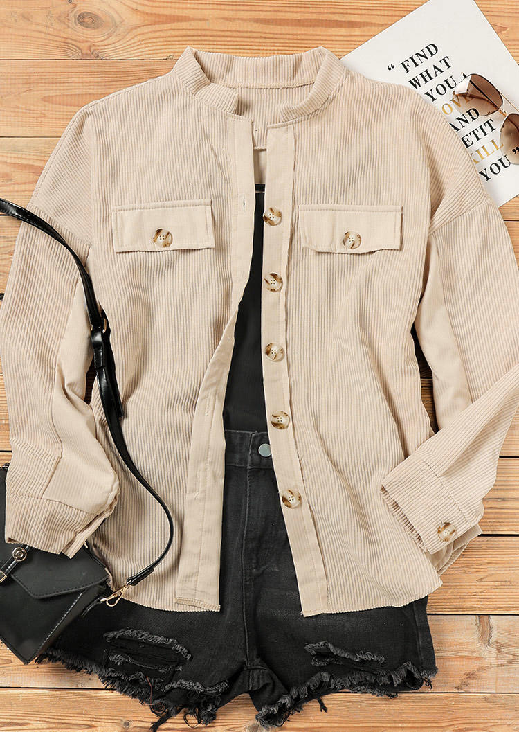 Button Turn-Down Collar Long Sleeve Coat - Apricot