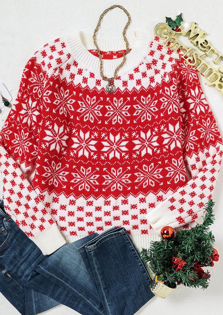 Christmas Snowflake Geometric O-Neck Sweater - Red
