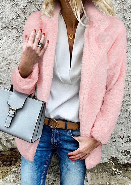 Fuzzy LongSleeve Stand Collar Coat - Pink