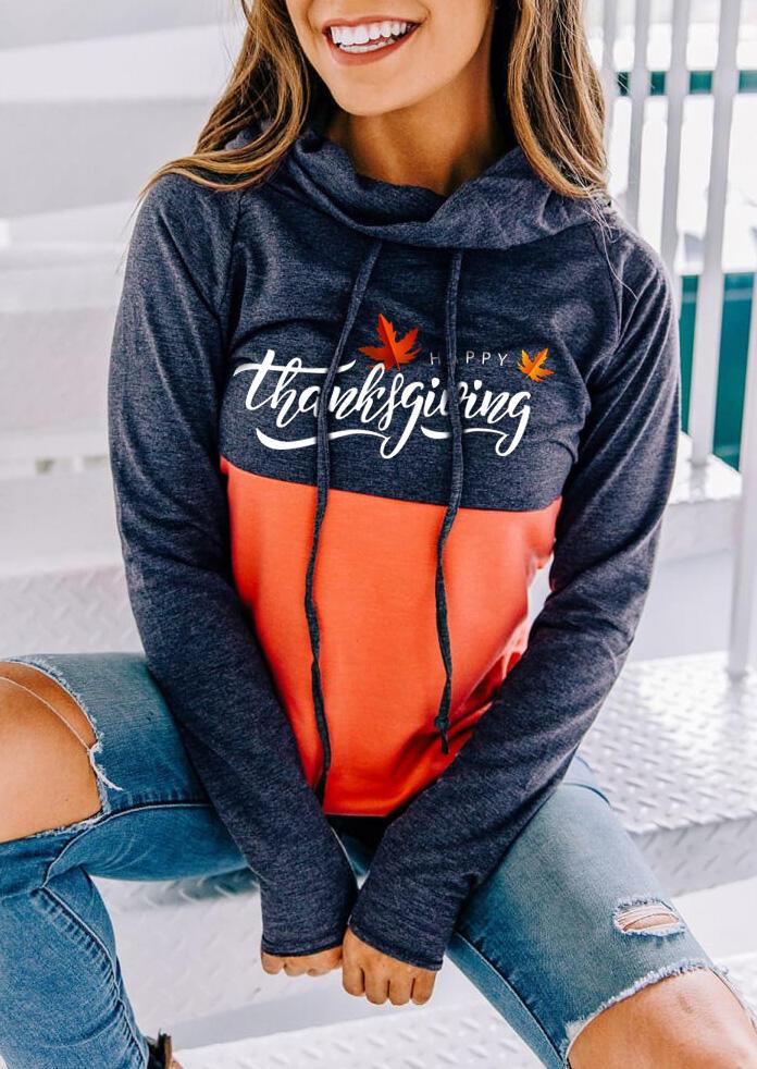 Thanksgiving Drawstring Cowl Neck Long Sleeve Sweatshirt
