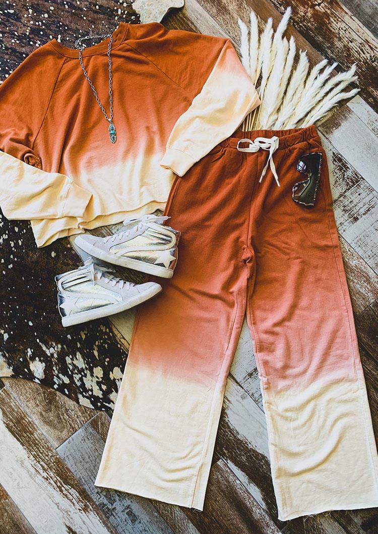 Gradient Raglan Sleeve Sweatshirt And Drawstring Sweatpants Two-Piece Set