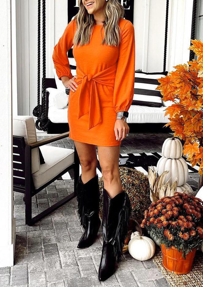 Tie Elastic Cuff O-Neck Mini Dress - Orange