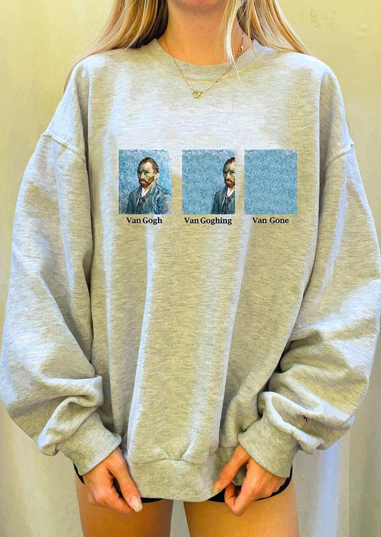 Funny Van Gogh Van Goghing Van Gone Sweatshirt - Gray