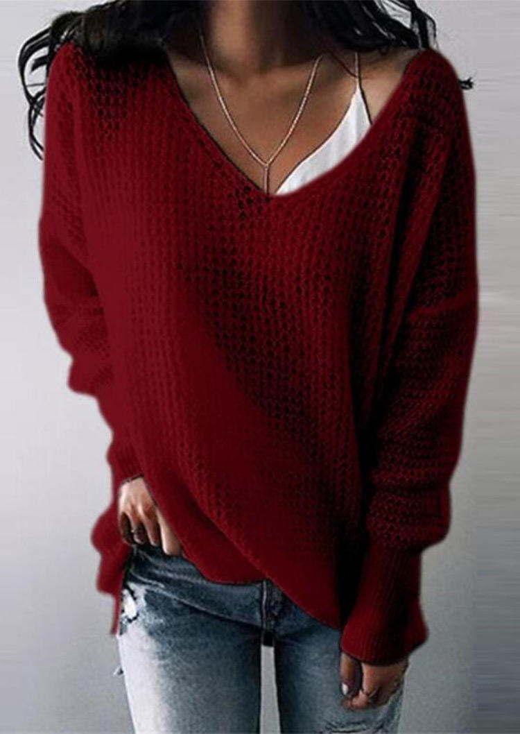 Sweaters Knitted LongSleeve Pullover Sweater in Burgundy. Size: S,M,L,XL